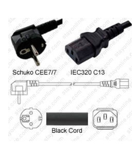 Schuko CEE 7/7 Down Male to C13 Female 1.5 Meters 10 Amp 250 Volt H05VV-F 3x0.75 Black Power Cord