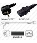 Schuko CEE 7/7 Down Male to C13 Female 1.0 Meters 10 Amp 250 Volt H05VV-F 3x0.75 Black Power Cord