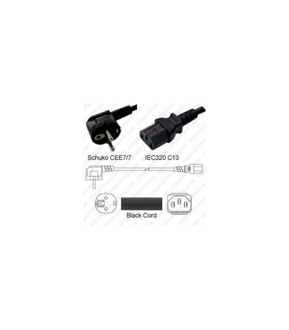 Schuko CEE 7/7 Down Male to C13 Female 0.5 Meters 10 Amp 250 Volt H05VV-F 3x0.75 Black Power Cord