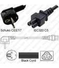 Schuko CEE 7/7 Plug Down to IEC60320 C5 Connector 2.0 Meters / 6.5 Feet LSZH 2.5a/250v H05Z1Z1-F3G.75 Low Smoke Zero Halogen