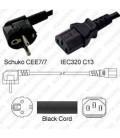 Schuko CEE 7/7 Plug Down to IEC60320 C13 Connector 2.0 Meters / 6.5 Feet LSZH 10a/250v H05Z1Z1-F3G1.0 Low Smoke Zero Halogen