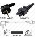 Schuko CEE 7/7 Down Male to C5 Female 1.8 Meters 2.5 Amp 250 Volt H05VV-F 3x0.75 Black Power Cord