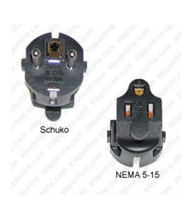 Schuko CEE 7/7 Male Plug to North America NEMA 5-15 Female Connector 10 Amp 250 Volt Block Adapter - Black