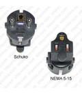 Schuko CEE 7/7 Male Plug to North America NEMA 5-15 Female Connector 10 Amp 250 Volt Block Adapter - Black