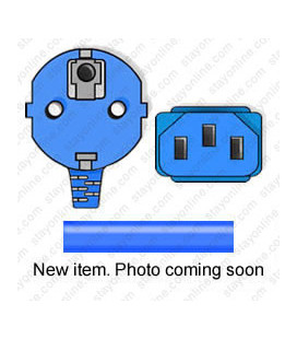 Blue Power Cord Schuko CEE 7/7 Down Male to C13 Female 2.5 Meters 10 Amp 250 Volt H05VV-F 3x1.0