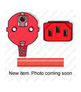 Red Power Cord Schuko CEE 7/7 Down Male to C13 Female 2.5 Meters 10 Amp 250 Volt H05VV-F 3x1.0
