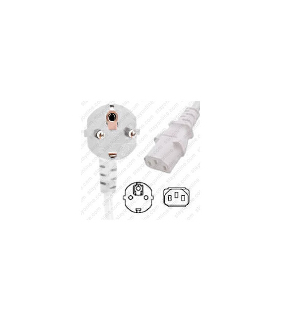 White Power Cord Schuko CEE 7/7 Down Male to C13 Female 2.5 Meters 10 Amp 250 Volt H05VV-F 3x1.0