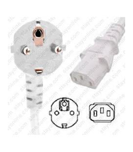 White Power Cord Schuko CEE 7/7 Down Male to C13 Female 2.5 Meters 10 Amp 250 Volt H05VV-F 3x1.0