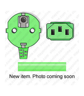 Green Power Cord Schuko CEE 7/7 Down Male to C13 Female 2.5 Meters 10 Amp 250 Volt H05VV-F 3x1.0