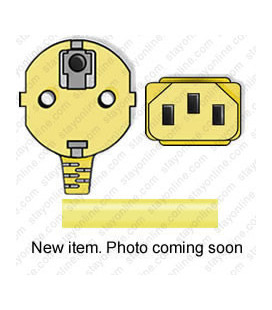 Yellow Power Cord Schuko CEE 7/7 Down Male to C13 Female 2.5 Meters 10 Amp 250 Volt H05VV-F 3x1.0