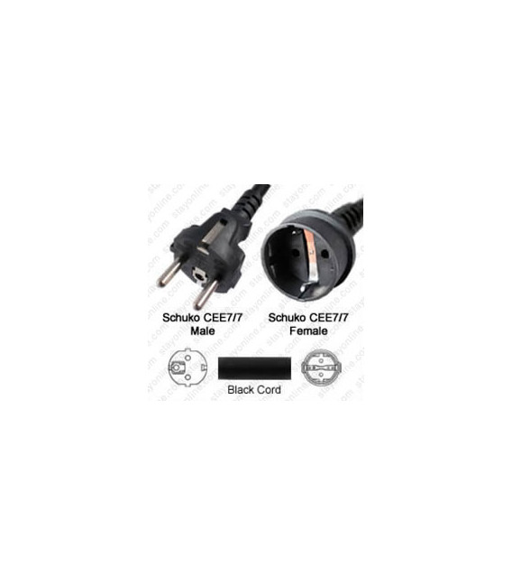 Schuko CEE 7/7 Male to Schuko CEE 7/7 Female 7.6 Meters 16 Amp 250 Volt H05VV-F 3x1.5 Black Power Cord