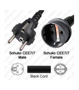 Schuko CEE 7/7 Male to Schuko CEE 7/7 Female 7.6 Meters 16 Amp 250 Volt H05VV-F 3x1.5 Black Power Cord