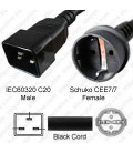 C20 Male to Schuko CEE7/7 Female 05 Meter 10 Amp 250 Volt H05VV-F3G1.0 Black Power Cord