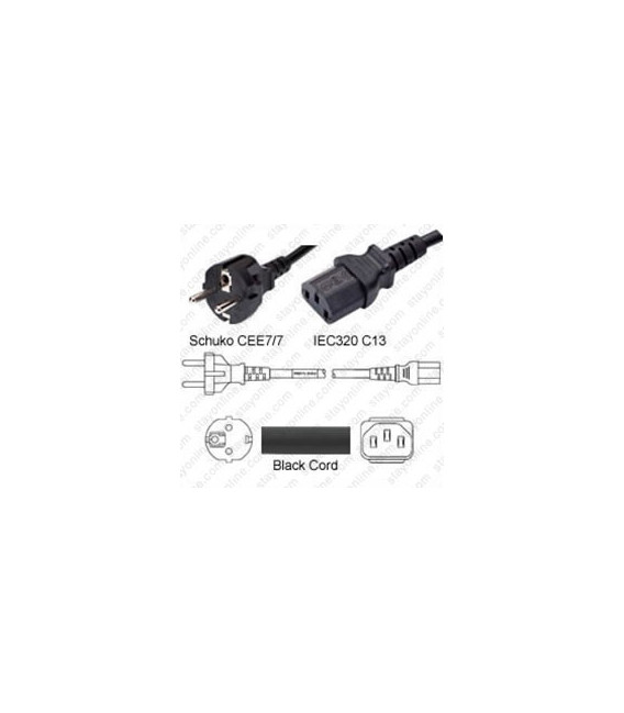Schuko CEE 7/7 Male to C13 Female 1.8 Meters 10 Amp 250 Volt H05VV-F 3x0.75 Black Power Cord