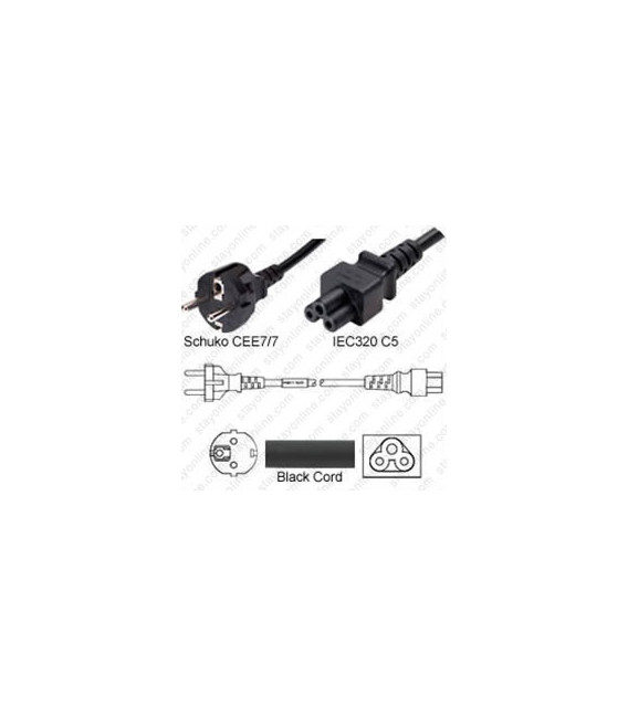 Schuko CEE 7/7 Male to C5 Female 1.8 Meters 2.5 Amp 250 Volt H05VV-F 3x0.75 Black Power Cord