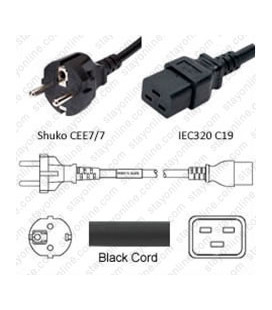 Schuko CEE 7/7 Male to C19 Female 1.8 Meters 16 Amp 250 Volt H05VV-F 3x1.5 Black Power Cord