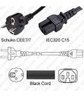 Schuko CEE 7/7 Male to C15 Female 2.5 Meters 10 Amp 250 Volt H05VV-F 3x1.0 Black Power Cord