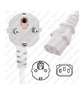 White Power Cord Schuko CEE 7/7 Down Male to C13 Female 1.0 Meters 10 Amp 250 Volt H05VV-F 3x1.0
