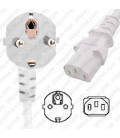White Power Cord Schuko CEE 7/7 Down Male to C13 Female 1.0 Meters 10 Amp 250 Volt H05VV-F 3x1.0