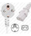 White Power Cord Schuko CEE 7/7 Down Male to C13 Female 1.5 Meters 10 Amp 250 Volt H05VV-F 3x1.0
