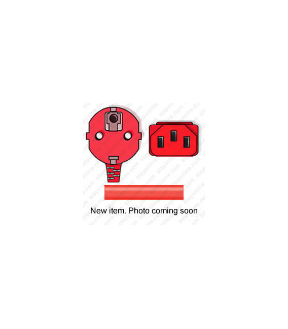 Red Power Cord Schuko CEE 7/7 Down Male to C13 Female 1.0 Meters 10 Amp 250 Volt H05VV-F 3x1.0