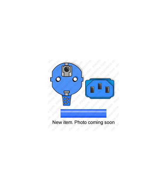 Blue Power Cord Schuko CEE 7/7 Down Male to C13 Female 1.0 Meters 10 Amp 250 Volt H05VV-F 3x1.0
