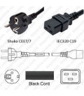 Schuko CEE 7/7 Male to C19 Female 3.0 Meters 16 Amp 250 Volt H05VV-F 3x1.5 Black Power Cord