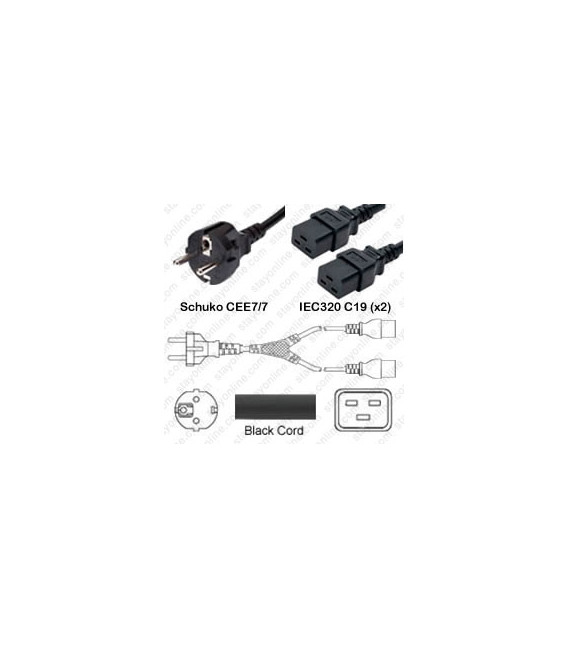 Splitter Schuko CEE 7/7 Male to x2 C19 Female 1.0 Meter 16 Amp 250 Volt H05VV-F 3x1.5 Black Power Cord