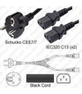 Splitter Schuko CEE 7/7 Male to x2 C13 Female 3.0 Meters 10 Amp 250 Volt H05VV-F 3x1.0 Black Power Cord