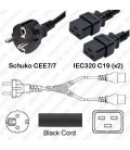 Splitter Schuko CEE 7/7 Male to x2 C19 Female 3.0 Meters 16 Amp 250 Volt H05VV-F 3x1.5 Black Power Cord