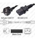 Schuko CEE 7/7 Male to C13 Female 2.0 Meters 10 Amp 250 Volt H05VV-F 3x1.0 Black Power Cord