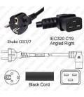 Schuko CEE 7/7 Male to C19 Right Female 3.0 Meters 16 Amp 250 Volt H05VV-F 3x1.0 Black Power Cord