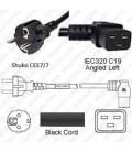 Schuko CEE 7/7 Male to C19 Left Female 3.0 Meters 16 Amp 250 Volt H05VV-F 3x1.0 Black Power Cord