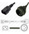 Cord C14 to France CEE 7/5 Female 0.5 Meters 10 Amp 250 Volt H05VV-F 3x1.0 Black Power Cord