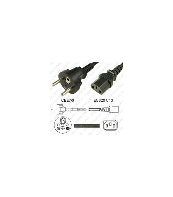 France CEE 7/6 Male to C13 Female 1.8 Meters 10 Amp 250 Volt H05VV-F 3x1.0 Black Power Cord
