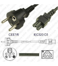 France CEE 7/6 Male to C5 Female 2.0 Meters 2.5 Amp 250 Volt H05VV-F 3x0.75 Black Power Cord