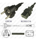 France CEE 7/6 Male to C19 Female 3.0 Meters 16 Amp 250 Volt H05VV-F 3x1.5 Black Power Cord