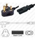 India IS 1293 Down Male to C7 Female 1.8 Meters 2.5 Amp 250 Volt H03VVH2-F 2x0.75 Black Power Cord