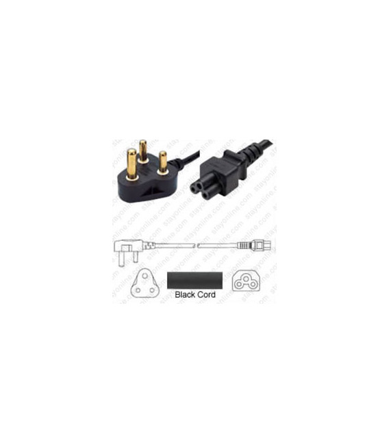 India IS 1293 Down Male to C5 Female 1.8 Meters 2.5 Amp 250 Volt H05VV-F 3x0.75 Black Power Cord