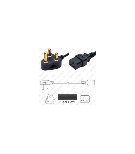 India IS 1293 Down Male to C19 Female 3.0 Meters 16 Amp 250 Volt H05VV-F 3x1.5 Black Power Cord