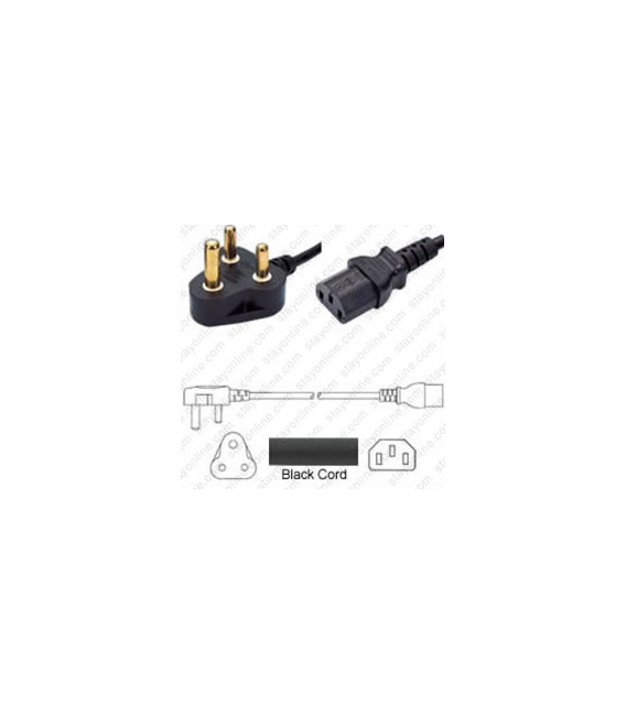 India IA16A3 Down Male to C13 Female 1.8 Meters 10 Amp 250 Volt H05VV-F 3x0.75 Black Power Cord