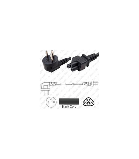 Israel SI-32 Up Male to C5 Female 1.8 Meters 2.5 Amp 250 Volt H05VV-F 3x0.75 Black Power Cord