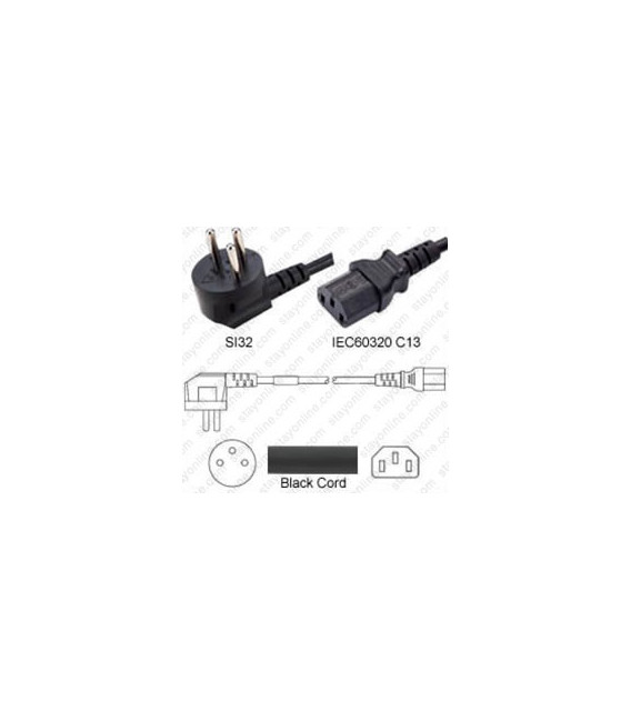 Israel SI-32 Up Male to C13 Female 2.5 Meters 10 Amp 250 Volt H05VV-F 3x1.0 Black Power Cord