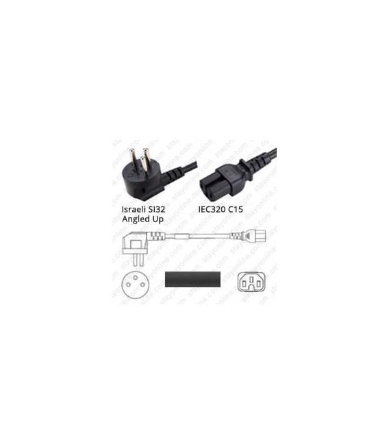 Cord Israel Up/C15 Black 2.5m / 8' 10a/250V H05RR-F3G1.0