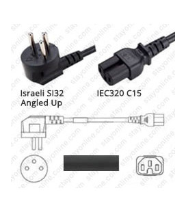 Cord Israel Up/C15 Black 2.5m / 8' 10a/250V H05RR-F3G1.0