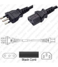 Italy CEI 23-16 Male to C13 Female 1.8 Meters 10 Amp 250 Volt H05VV-F 3x0.75 Black Power Cord