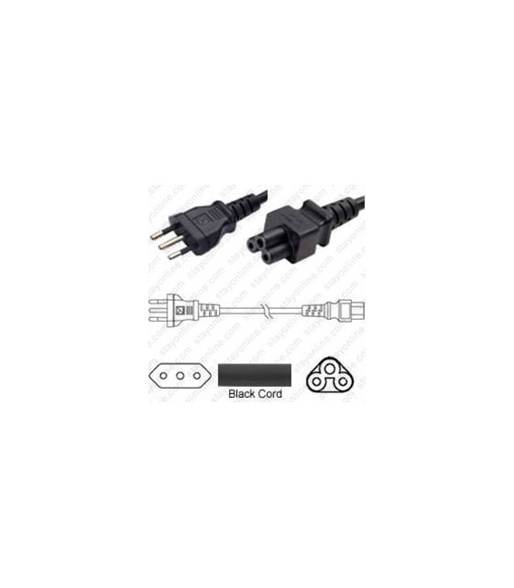 Italy CEI 23-16 Male to C5 Female 1.8 Meters 2.5 Amp 250 Volt H05VV-F 3x0.75 Black Power Cord