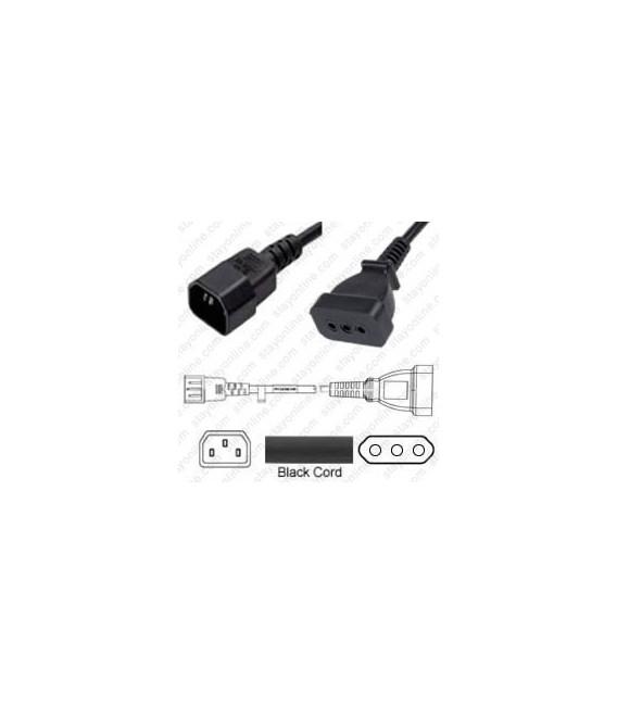 AC Power Cord C14 to CEI 23-16 Italy 0.5m 10a/250v H05VV-F3G1.0 - Black