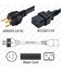 Japan PSE L6-30 Male to C19 Female 3.0 Meters 20 Amp 250 Volt VCTF 3x3.5 Black Power Cord