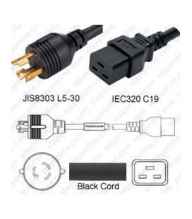 Japan PSE L5-30 Male to C19 Female 3.0 Meters 20 Amp 125 Volt VCTF 3x3.5 Black Power Cord